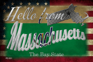 Hello From Massachusetts Wholesale Novelty Metal Postcard PC-021