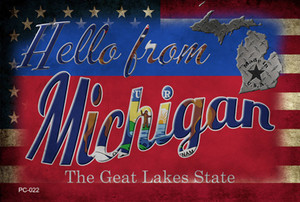 Hello From Michigan Wholesale Novelty Metal Postcard PC-022