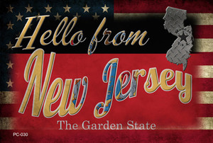 Hello From New Jersey Wholesale Novelty Metal Postcard PC-030