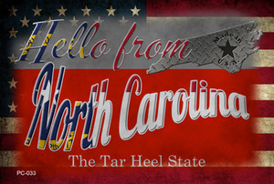 Hello From North Carolina Wholesale Novelty Metal Postcard PC-033