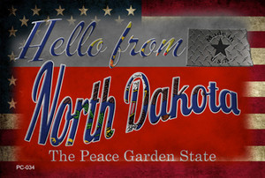 Hello From North Dakota Wholesale Novelty Metal Postcard PC-034