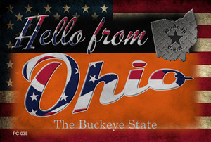 Hello From Ohio Wholesale Novelty Metal Postcard PC-035