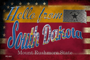 Hello From South Dakota Wholesale Novelty Metal Postcard PC-041