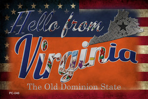 Hello From Virginia Wholesale Novelty Metal Postcard PC-046