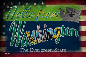 Hello From Washington Wholesale Novelty Metal Postcard PC-047