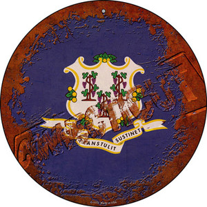 Connecticut Rusty Stamped Wholesale Novelty Metal Circular Sign C-1172