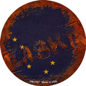 Alaska Rusty Stamped Wholesale Novelty Mini Metal Circle Magnet CM-1167