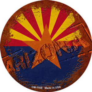 Arizona Rusty Stamped Wholesale Novelty Mini Metal Circle Magnet CM-1168