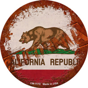 California Rusty Stamped Wholesale Novelty Mini Metal Circle Magnet CM-1170