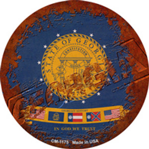 Georgia Rusty Stamped Wholesale Novelty Mini Metal Circle Magnet CM-1175