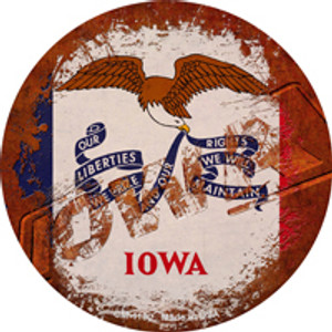 Iowa Rusty Stamped Wholesale Novelty Mini Metal Circle Magnet CM-1180