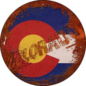 Colorado Rusty Stamped Wholesale Novelty Small Metal Circular Sign UC-1171