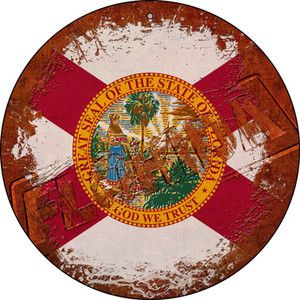 Florida Rusty Stamped Wholesale Novelty Small Metal Circular Sign UC-1174