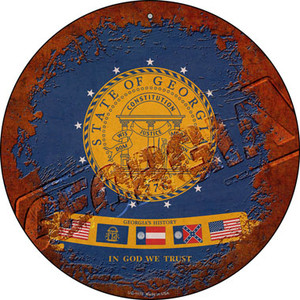 Georgia Rusty Stamped Wholesale Novelty Small Metal Circular Sign UC-1175