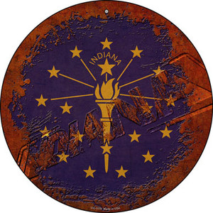 Indiana Rusty Stamped Wholesale Novelty Small Metal Circular Sign UC-1179