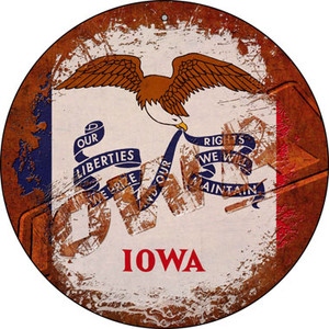 Iowa Rusty Stamped Wholesale Novelty Small Metal Circular Sign UC-1180
