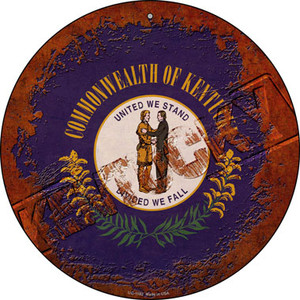 Kentucky Rusty Stamped Wholesale Novelty Small Metal Circular Sign UC-1182
