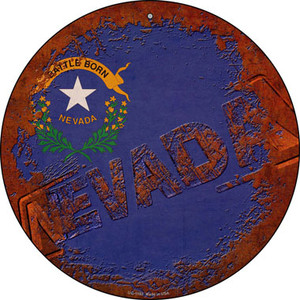 Nevada Rusty Stamped Wholesale Novelty Small Metal Circular Sign UC-1193
