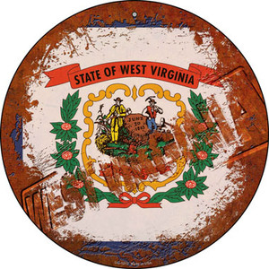 West Virginia Rusty Stamped Wholesale Novelty Small Metal Circular Sign UC-1213