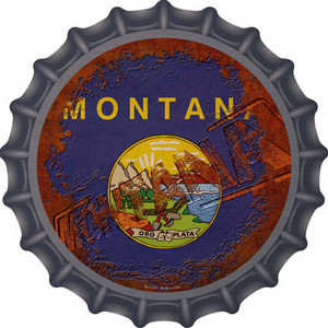 Montana Rusty Stamped Wholesale Novelty Metal Bottle Cap BC-1191