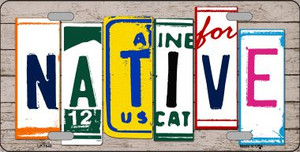 Native License Plate Art Wood Pattern Wholesale Metal Novelty License Plate