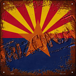 Arizona Rusty Stamped Wholesale Novelty Metal Square Sign SQ-945