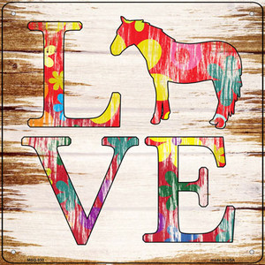 Love Colorful Horse Wholesale Novelty Mini Metal Square Sign MSQ-933