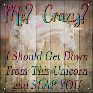 Unicorn Slap You Wholesale Novelty Mini Metal Square Sign MSQ-934