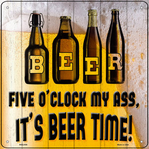 Its Beer Time Wholesale Novelty Mini Metal Square Sign MSQ-936