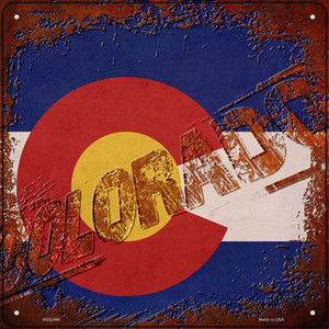 Colorado Rusty Stamped Wholesale Novelty Mini Metal Square Sign MSQ-948