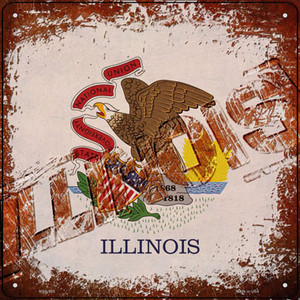 Illinois Rusty Stamped Wholesale Novelty Mini Metal Square Sign MSQ-955