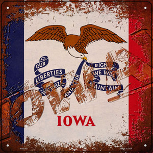 Iowa Rusty Stamped Wholesale Novelty Mini Metal Square Sign MSQ-957