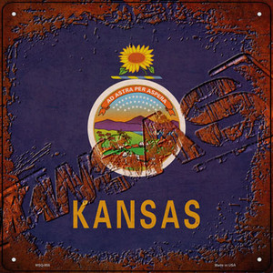 Kansas Rusty Stamped Wholesale Novelty Mini Metal Square Sign MSQ-958