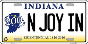 N Joy Indiana Novelty Wholesale Metal License Plate