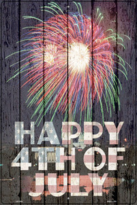 Happy Fourth of July Wholesale Novelty Large Metal Parking Sign LGP-2988