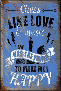Chess Like Love & Music Wholesale Novelty Large Metal Parking Sign LGP-3169