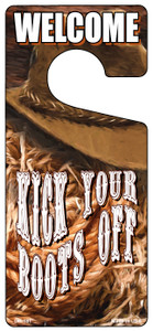 Kick Your Boots Off Wholesale Novelty Metal Door Hanger DH-181