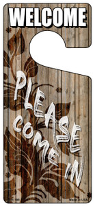 Please Come In Brown Wholesale Novelty Metal Door Hanger DH-188