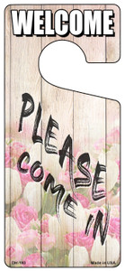 Please Come In Pink Floral Wholesale Novelty Metal Door Hanger DH-193