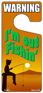 Im Out Fishin Orange Wholesale Novelty Metal Door Hanger DH-202