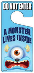 A Monster Lives Inside Blue Wholesale Novelty Metal Door Hanger DH-208