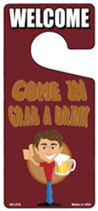 Grab A Drink Wholesale Novelty Metal Door Hanger DH-219