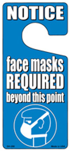 Face Masks Required Blue Wholesale Novelty Metal Door Hanger DH-250