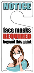 Face Masks Required White Mask Wholesale Novelty Metal Door Hanger DH-251