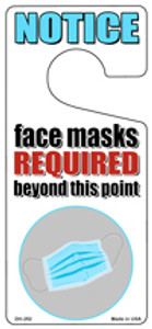 Face Masks Required White  Wholesale Novelty Metal Door Hanger DH-252