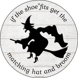 Matching Hat and Broom Witch Wholesale Novelty Circular Sign C-1282