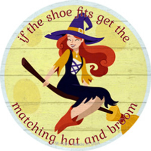 Matching Hat and Broom Girl Wholesale Novelty Mini Metal Circle Magnet CM-1281