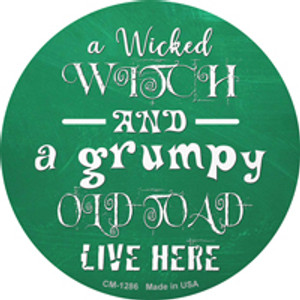 Wicked Witch and Grumpy Toad Wholesale Novelty Mini Metal Circle Magnet CM-1286