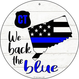 Connecticut Back The Blue Wholesale Novelty Small Metal Circular Sign UC-1236