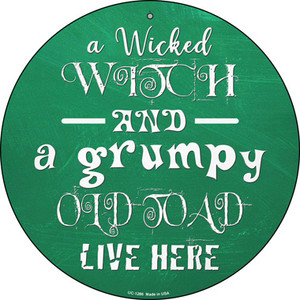Wicked Witch and Grumpy Toad Wholesale Novelty Small Metal Circular Sign UC-1286
